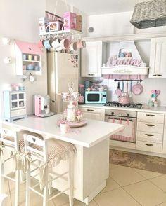 Shabby Home, Shabby Chic Cottage, Shabby Chic Homes, Shabby Chic Decor, Cute Kitchen, Kitchen Decor, Kitchen Design, Smart Kitchen, Kitchen Storage