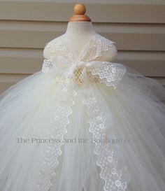 The Back! Flower girl dress ivory and white tutu by Theprincessandthebou
