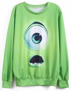 Green Monsters University Print Sweatshirt!! omg @Cathryn Gable birthday present!!!(: