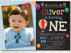 Items similar to Hot Air Balloon Birthday Invitation. Up Up and Away Birthday Party Invite. Chalkboard with photo. Printable Digital DIY on Etsy Carnival Birthday Parties, First Birthday Parties, Boy Birthday, First Birthdays, Birthday Ideas, Bowling Birthday Invitations, Invitation Birthday, Birthday Balloons, Printable Invitations