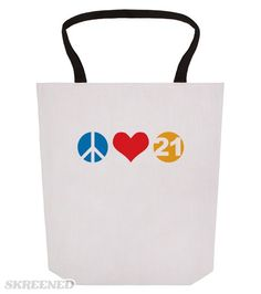Peace Love 21 - Birthday Tote | Celebrate milestone birthdays in style with with - Love Peace 21 - for the next party with friends.   #birthday #21 #peace #love #heart