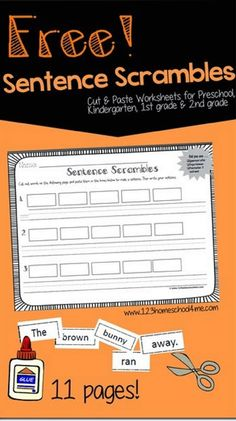 Sentence Scrambles - FREE printable cut and paste worksheets for kids to practice making sentences. This are great for kids in Preschool, Kindergarten, 1st grade, and 2nd grade.