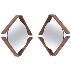 Walnut Pair of Mirrors, Midcentury, Italy circa 1965 Beautiful Mirrors, Mid Century Modern Design, Midcentury Modern, Natural Light, Italy, Gallery, Wood, Products, Italia