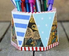 Vintage comic books pencil cup for Dad