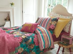 Floral & stripe bedding