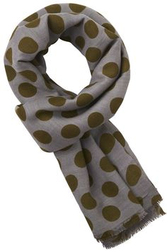 Steel grey scarf with olive green polka dots Grey Scarf, Silk Wool, Danish Design, Olive Green, Scarves, Polka Dots, Steel, Classic, Shop