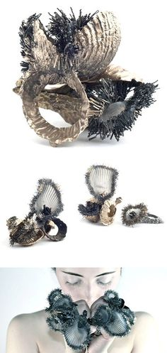 """Organic, sea-inspired jewellery - silicone & wire sculpted rings capturing shapes & textures of shells left behind on the beach like abandoned homes // Ami Victoria, """"Abandoned"""""""