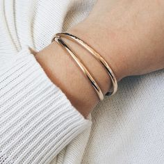 Stacking Cuff Bracelet // available in 14k Gold + Sterling Silver by Barberry + Lace // www.barberryandlace.com