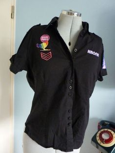 S14 KRONK Black Military Badge Rockabilly 50s Diner Bowling Shirt #1950s #diner