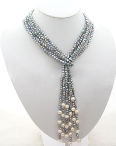 "pearl necklace,bridesmaid gifts,beaded jewelry - 3 Strands 45"" Gray Freshwater Pearl Necklace"