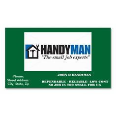 Handyman business card samples pinterest free business cards handyman business card wajeb Gallery