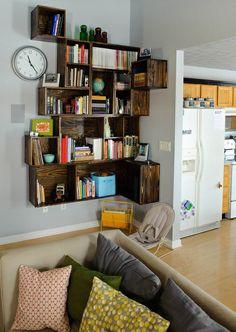 Def make this fabulous custom corner shelving... with wine crates perhaps?