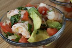 Shrimp Ceviche    Ingredients:  2 lbs cooked shrimp (peeled, deveined with tails off)  ¾ cup fresh lime juice  3 roma tomatoes (diced)  1 white onion (chopped)  ½ cup fresh cilantro (chopped)  1 tablespoon Worcestershire sauce  1 tablespoon ketchup  1 teaspoon hot pepper sauce  salt and pepper (to taste)  1 avocado (peeled, pitted and diced)  tortilla chips