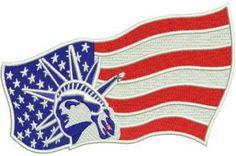 USA flag machine embroidery design. Machine embroidery design. www.embroideres.com