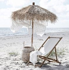 Our Mandisa Lounger is a natural bamboo deckchair with white canvas seat Boho Home, Candle Containers, Parasol, Outdoor Living, Outdoor Decor, Beach Blanket, Butterfly Chair, Beach Chairs, Beach Cottages