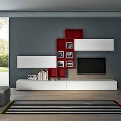 Contemporary TV unit composition Symbol by Favero, features 2 wooden base units, 2 wall mounted units and a wall mounted bookcase