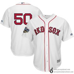 Boston Red Sox  50 Mookie Betts 2018 World Series Champions Team Logo  Player Jerseys No Name White Scarlet dc7f184d6
