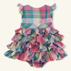 Ralph Lauren Baby Girls Tiered Plaid Madras Party Dress Set (6 Months)