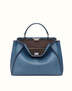 FENDI | PEEKABOO GRANDE bolso de mano de piel azul