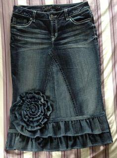 Super cute denim ruffle skirt @Tracy Stewart Stewart Bowers I LOVE THIS