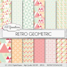 Geometric digital paper RETRO GEOMETRIC vintage by Artfanaticus  My backgrounds, textures, digital paper and clip art can be used for just about any project. Add some additional artistic style to your photo albums, photography projects, photographs, scrapbooking, weddings, invitations, greeting cards, gift wrap, labels, stickers, tags, signs, business cards, websites, blogs, party decor, jewelry & more.  For more digital papers, please visit Artfanaticus at:  http://artfanaticus.etsy.com