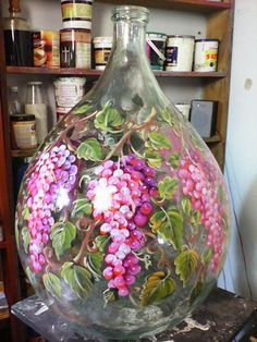 Items similar to Demijohn Italian painted. on Etsy Painted Glass Bottles, Glass Bottle Crafts, Wine Bottle Art, Lighted Wine Bottles, Painted Vases, Decorated Wine Glasses, Decorated Jars, Painted Wine Glasses, Glass Painting Designs