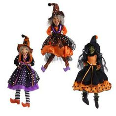 """RAZ Hanging Witch Ornament  Orange/Purple/Black Priced individually - choose by shoe color - SOLD OUT OF WITCH IN PURPLE SHOES Made of Polyester Measures 15"""" Not Intended for Children"""