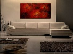 Large Red Abstract Painting Textured Wall Art by NathalieVan, $285.00