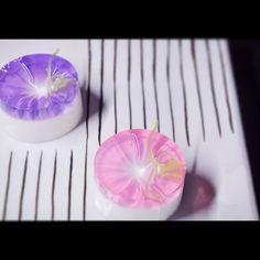 """一日一菓 「朝顔」 錦玉/淡雪羹製 wagashi of the day """"Morning glory"""" 本日は「朝顔」です。 色の付いている箇所は錦玉羹で、白い部分は「淡雪羹」と言う菓子で出来ています。 ツルと葉は羊羹で仕上げてあります。 ..."""