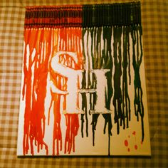 Sam Houston crayon art!!! I am so doing this!!! but with Orange only -Leshia