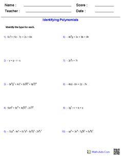 Multiplying Polynomials Worksheets | Math-Aids.Com ...