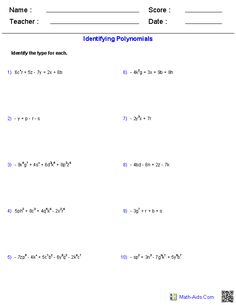 math worksheet : adding and subtracting polynomials worksheets  math aids com  : Adding And Subtracting Monomials Worksheet