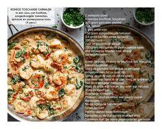 ROMIGE TOSCAANSE GARNALEN  in een saus van knoflook, zongedroogde tomaatjes, spinazie en parmezaanse kaas. (4 personen)