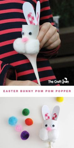 Easter Bunny pom pom popper - from a toilet roll and a balloon