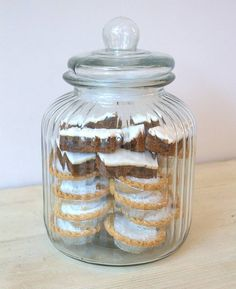 This large elegant storage jar will look great in the kitchen filled with favourite cookies .  Alternatively treat yourself to a few and decant your day to day essential dry goods into them and line them up on an open shelf for a casual country feel .    Available at ellajames.co.uk and notonthehighstreet.com