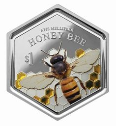 Catch The Buzz First Hexagonal Coin Features A Honey Bee And Has Resin Inclusion