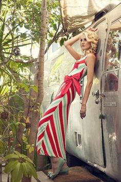 Boardwalk Striped Maxi Dress - Mint and Coral | Tailor and Stylist