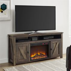 """Farmington Electric Fireplace TV Console for TVs up to 60"""" in Dark Rustic Pine"""