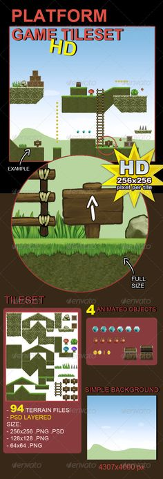 Platform Game Tileset HD — Photoshop PSD #sprite #background • Available here → https://graphicriver.net/item/platform-game-tileset-hd/5705954?ref=pxcr