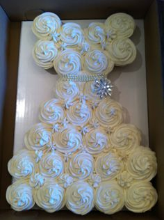 bridal shower cupcakes. could be any colour like a little girl's princess dress