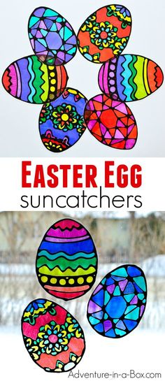 Make stained glass Easter egg suncatchers with kids! This craft comes with four free printable Easter egg designs and makes for a quick and easy way to decorate windows for Easter. glass crafts for kids Easter Egg Suncatchers Easter Projects, Easter Crafts For Kids, Crafts To Do, Art Projects, Easter Decor, Easter Activities For Kids, Easy Crafts, Plastic Egg Crafts For Kids, Easter Crafts For Preschoolers