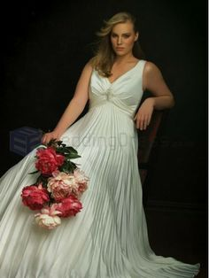 A-line Organdy Ruched Bodice plunging V-shaped Neckline Sweep Train Wedding Dresses