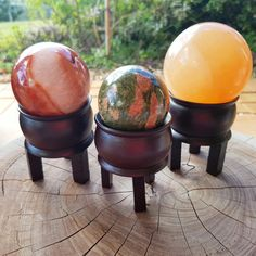 Crystal Balls on Wooden Cauldron Stands ~ Carnelian, Unakite and Peach Selenite. Only one of each available!
