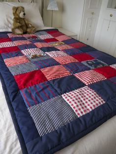 Tractors 446208275583929210 - Patchwork quilt boys bedroom single bed navy red and white vintage fabrics 65 00 Source by mariannemembot Patch Quilt, Rag Quilt, Quilt Bedding, Quilt Blocks, Blue Bedding, Patchwork Quilt Patterns, Patchwork Ideas, Denim Crafts, Boy Quilts