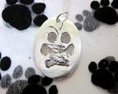 """Silver Paw Print Pendant  of YOUR pet's paw -  1"""" size round / circle shape. $75.00, via Etsy."""
