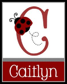 Personalized (Red Ladybug Gingham) Letter Name 8x10 Matte Print. $7.99, via Etsy.