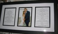 Framed Wedding Vows with a picture of the married couple in the center! Such a great idea! :)