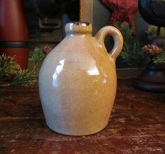 Primitive Antique Vtg Style Tan Glazed Ceramic Stoneware Mini Whiskey Jug Crock #NaivePrimitive