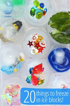 twenty fun things to freeze into ice blocks for cool sensory play!