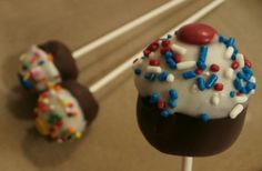 "No-bake cupcake pops. The lower part is dipped in ""chocolate"" candy melts, the top part is dipped in ""white chocolate"" candy melts.  #WiltonContest"